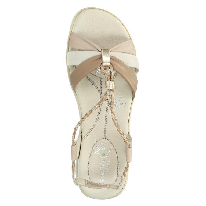 Kožené sandály s pletenými pásky, béžová, 2019-564-8353 - 19