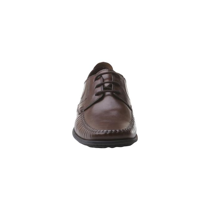 Kožená obuv na šněrování bata, hnědá, 854-4836 - 16