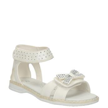 Dívčí sandály s kamínky mini-b, bílá, 261-1160 - 13