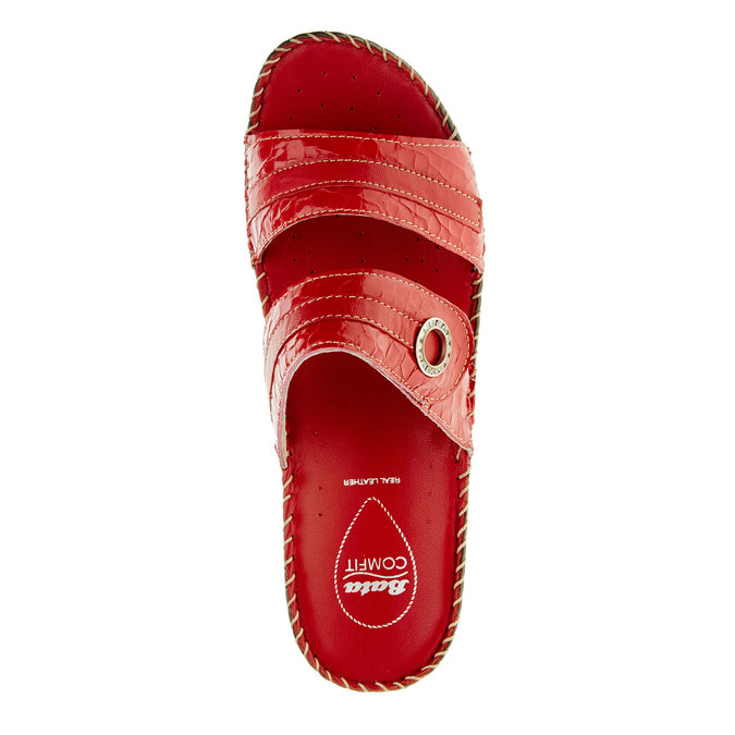 Dámské pantofle na klínovém podpatku comfit, červená, 674-5249 - 19