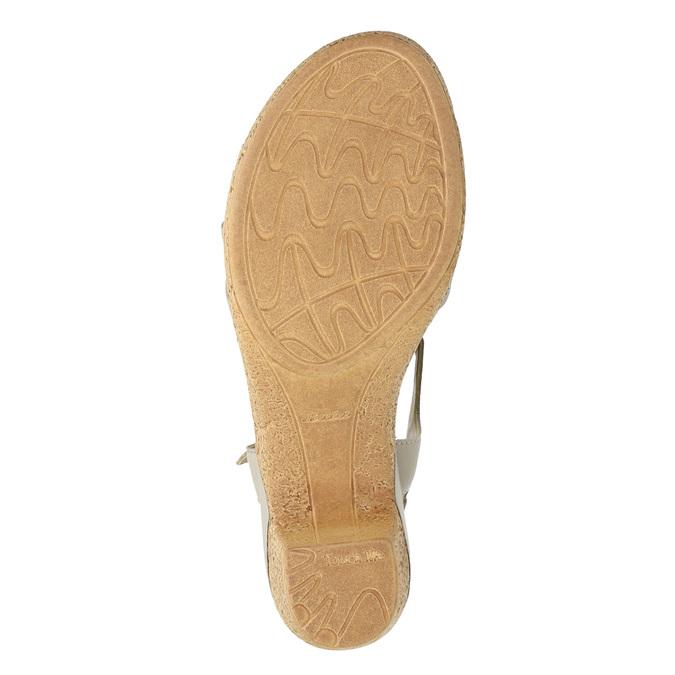 Kožené sandály na nízkém podpatku bata-touch-me, béžová, 666-8203 - 19
