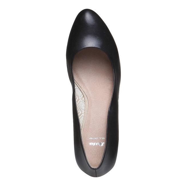 Kožené lodičky na širokém podpatku bata, černá, 724-6948 - 19
