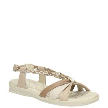 Kožené sandály s pletenými pásky bata-touch-me, béžová, 564-8353 - 13