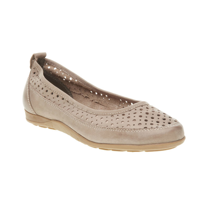 Kožené baleríny s perforací bata, béžová, 526-8496 - 13