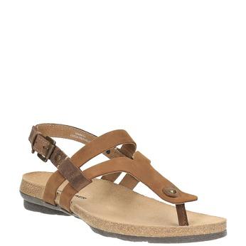Dámské kožené sandály weinbrenner, hnědá, 566-4101 - 13