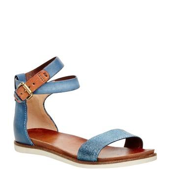 Dámské kožené sandály s kotníčkovým páskem bata, modrá, 566-9102 - 13