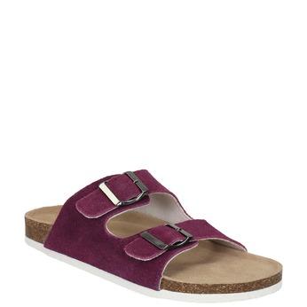 Dámské kožené pantofle de-fonseca, fialová, 573-5620 - 13