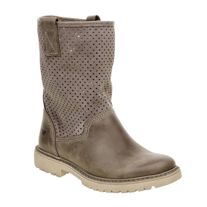 Dámské boty z broušené kůže weinbrenner, hnědá, 596-9102 - 13