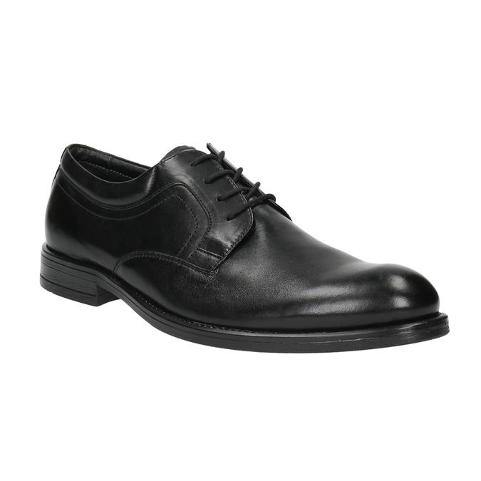 Kožené polobotky s kulatou špicí bata, černá, 824-6657 - 13