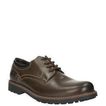 Kožené polobotky s výraznou podešví bata, hnědá, 826-4641 - 13