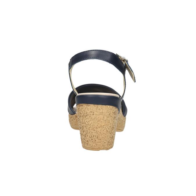 Kožené sandály na nízkém podpatku bata-touch-me, modrá, 666-9203 - 17