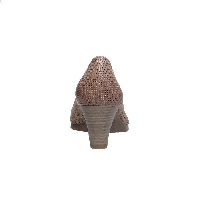 Kožené lodičky s perforací bata, hnědá, 624-8389 - 17