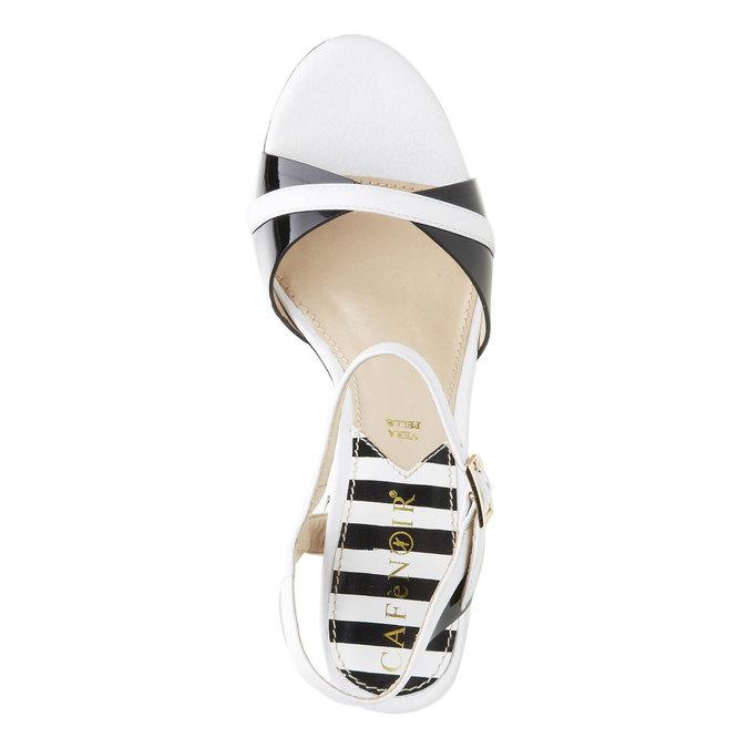 Dámské kožené sandály na masivním podpatku cafe-noir, bílá, 764-1007 - 19