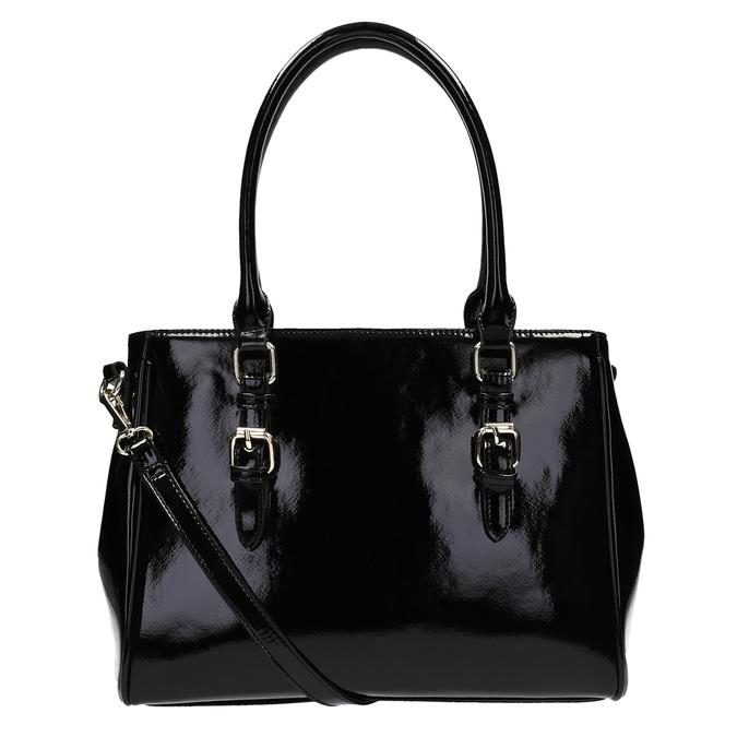 Černá kabelka v lakované úpravě bata, černá, 961-6619 - 26