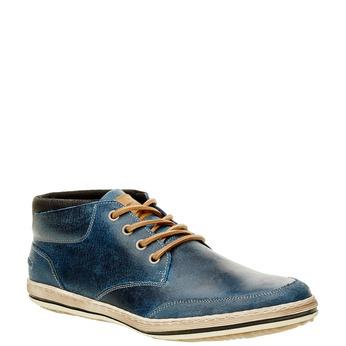 Modré kožené tenisky ke kotníkům bata, modrá, 844-9620 - 13