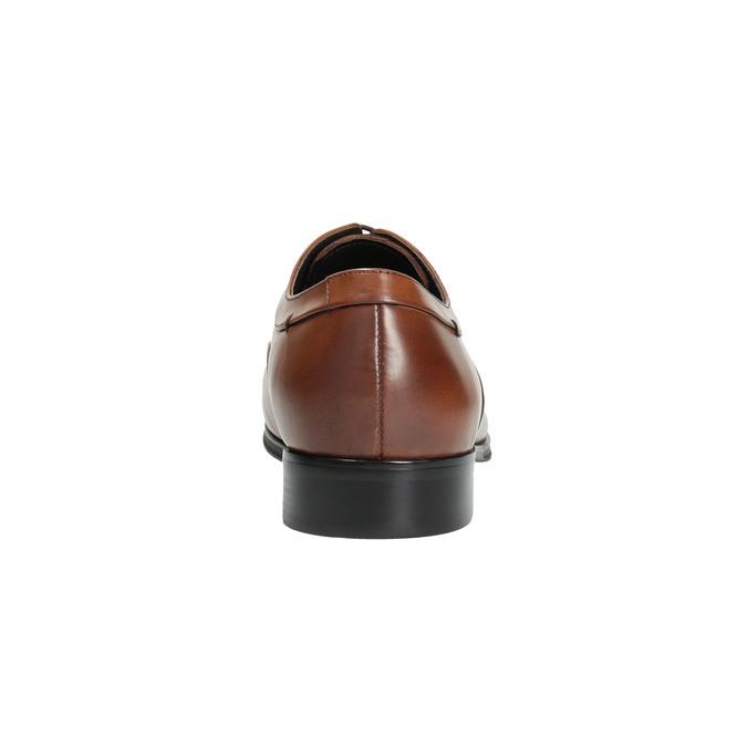 Hnědé kožené polobotky v Oxford střihu bata, hnědá, 824-3680 - 17
