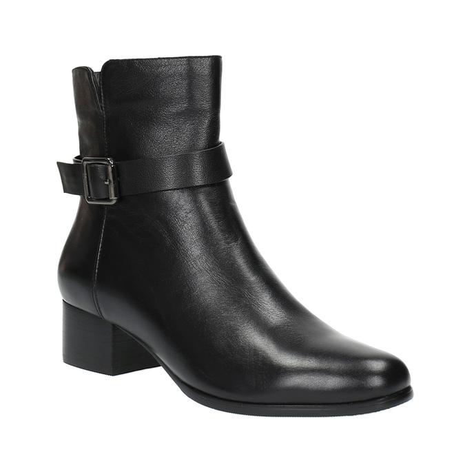 Kožené kotníčkové kozačky na nízkém podpatku bata, černá, 694-6630 - 13