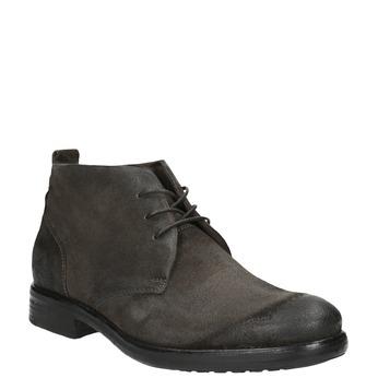 Kotníčková obuv z broušené kůže bata, šedá, 846-6611 - 13