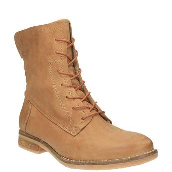 Kožená kotníčková obuv se zateplením bata, hnědá, 596-3610 - 13