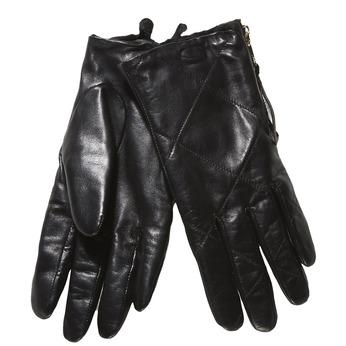 Kožené dámské rukavice s prošitím bata, černá, 904-6108 - 13