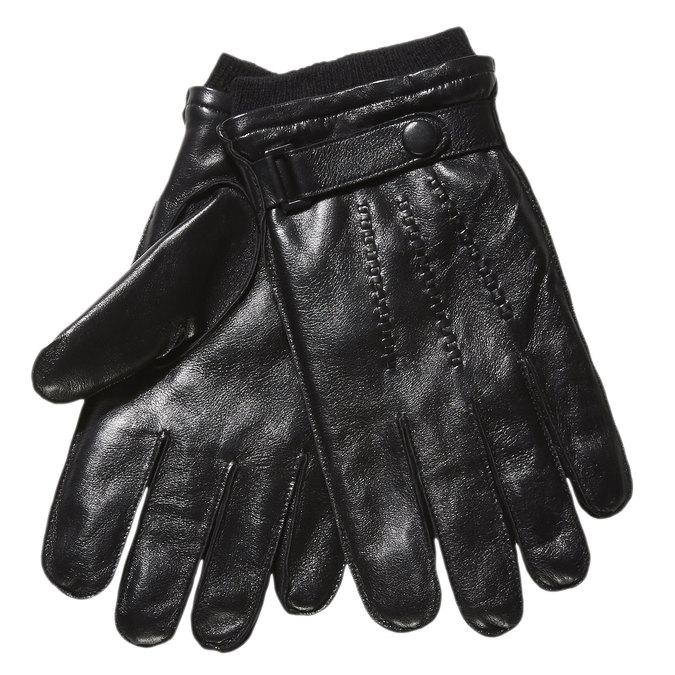 Pánské kožené rukavice s úpletem bata, černá, 904-6118 - 13