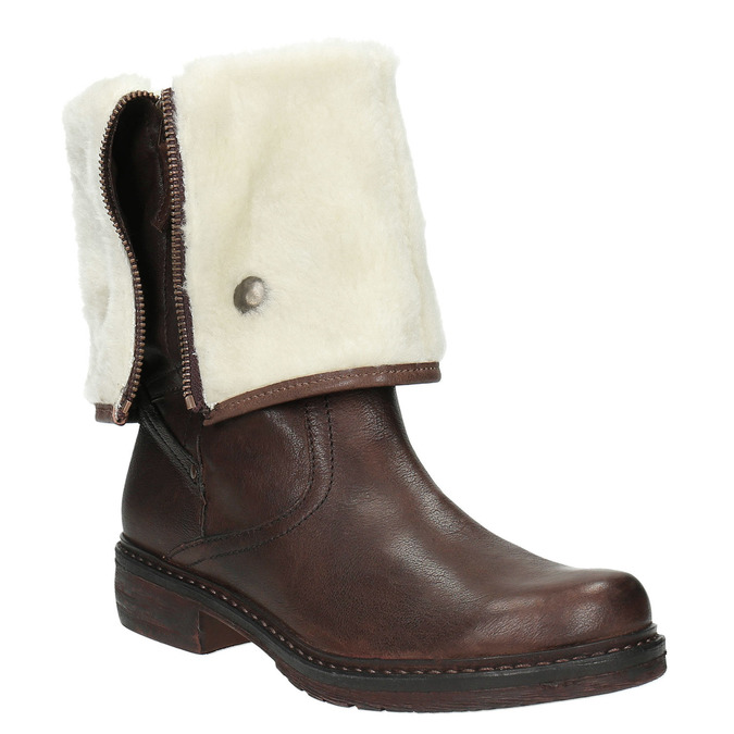 Kožená zimní obuv s kožíškem manas, hnědá, 596-4600 - 13