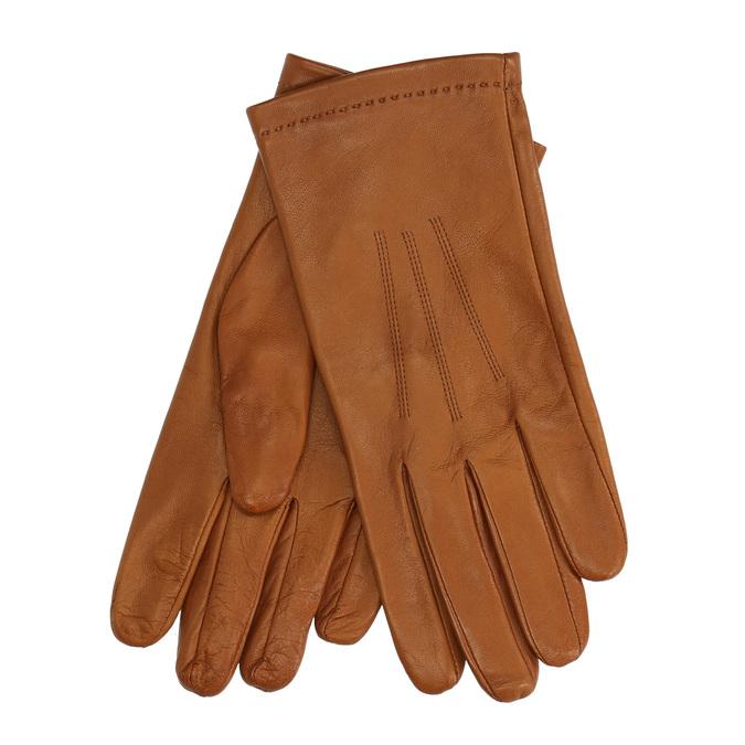 Hnědé kožené rukavice junek, hnědá, 924-3024 - 13