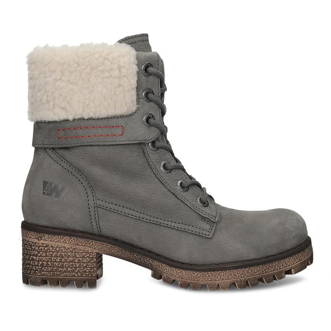 Šedá dámská kožená zimní obuv se zateplením weinbrenner, šedá, 696-2168 - 19