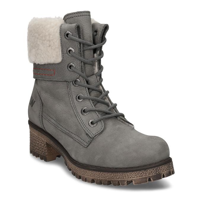 Šedá dámská kožená zimní obuv se zateplením weinbrenner, šedá, 696-2168 - 13