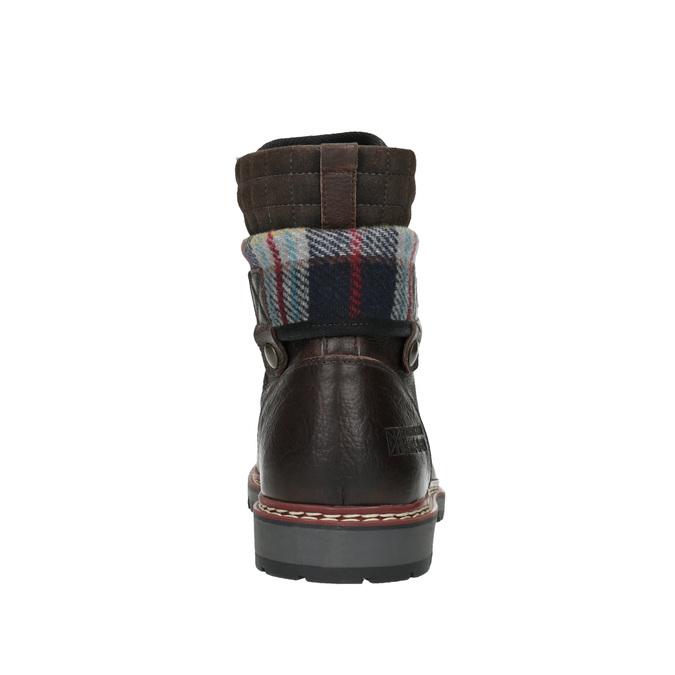 Kožená zimní obuv s károvaným detailem bata, hnědá, 896-4650 - 17