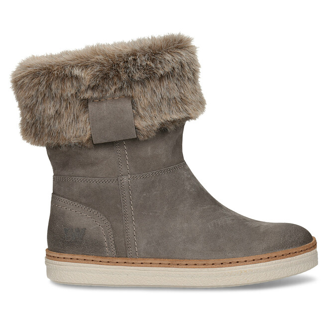 Kožená zimní obuv s kožíškem weinbrenner, šedá, 596-2633 - 19