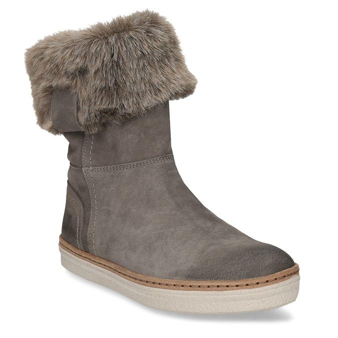 Kožená vycházková obuv s kožíškem weinbrenner, šedá, 596-2633 - 13