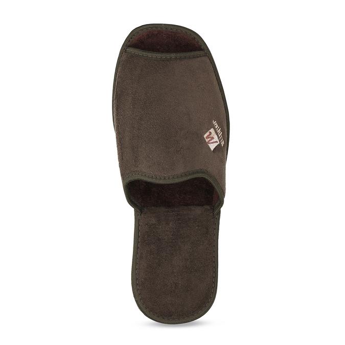 Pánské hnědé domácí nazouváky bata, hnědá, 879-4606 - 17