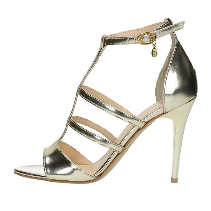 Zlaté kožené sandálky bata, zlatá, 2020-728-8644 - 26