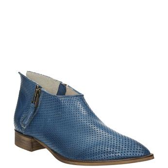 Kožené kotníčkové kozačky s perforací bata, modrá, 596-9647 - 13