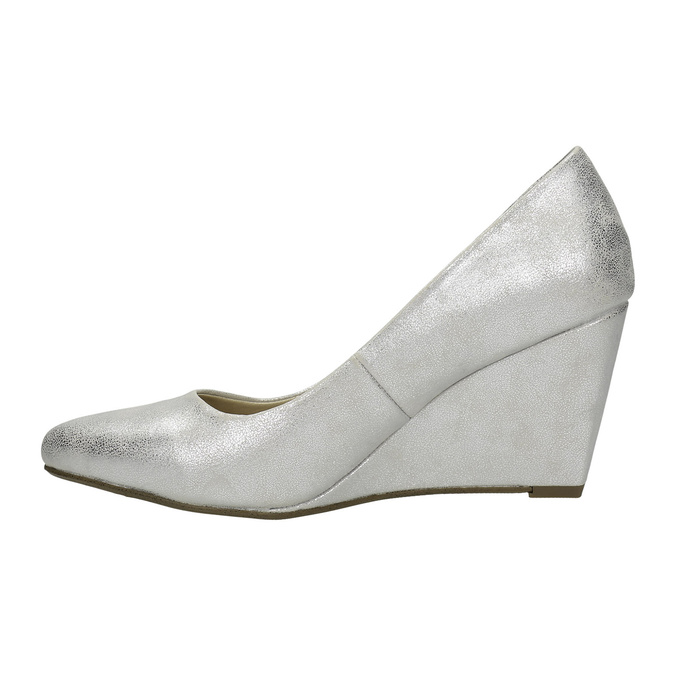 Stříbrné lodičky na klínovém podpatku bata, stříbrná, 721-1608 - 26