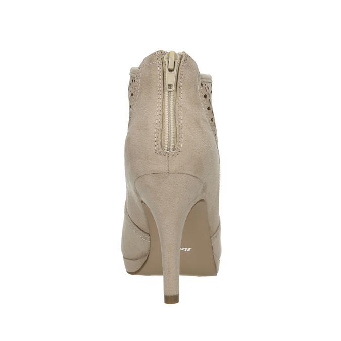 Kotníčkové kozačky s perforací bata, béžová, 729-8603 - 17