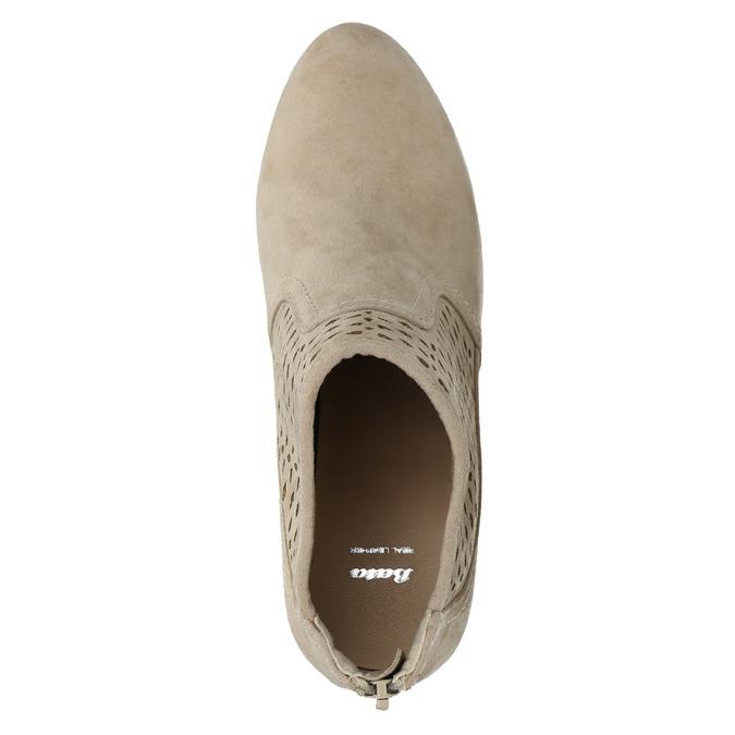 Kotníčkové kozačky s perforací bata, béžová, 729-8603 - 19