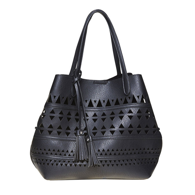 Dámská kabelka s perforací bata, černá, 961-6274 - 17