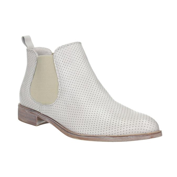 Kožené Chelsea boty s perforací bata, šedá, 596-1651 - 13