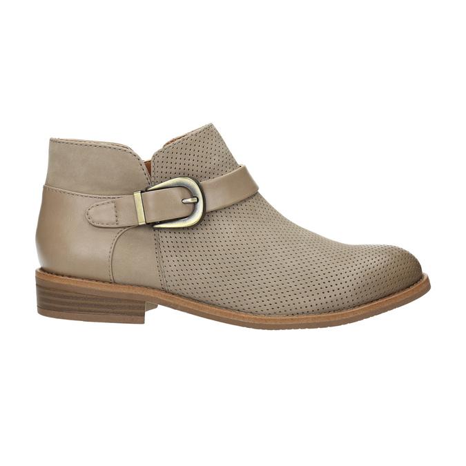 Kožená kotníčková obuv se sponou bata, hnědá, 596-3634 - 15