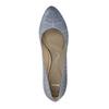 Dámské kožené lodičky s perforací pillow-padding, modrá, 726-9642 - 19