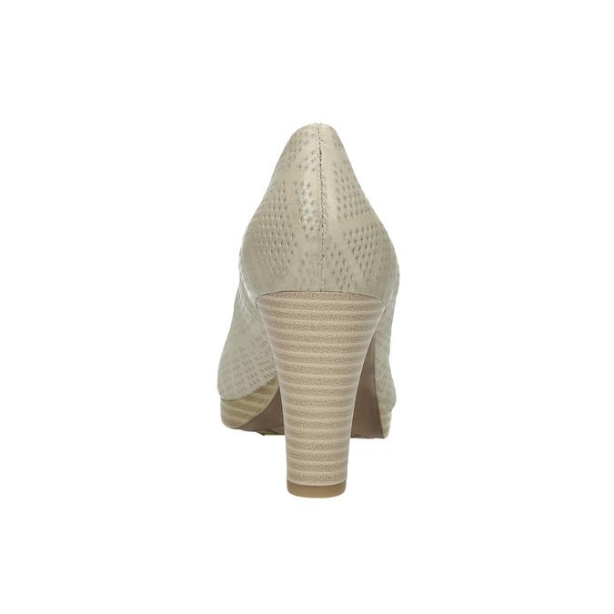Kožené lodičky s perforací pillow-padding, béžová, 726-1642 - 17
