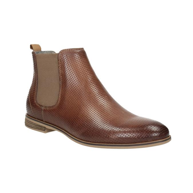 Kožené kotníčkové Chelsea Boots s perforací bata, hnědá, 596-4644 - 13