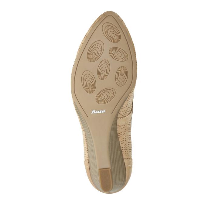 Kožené lodičky na klínovém podpatku bata, béžová, 626-8638 - 26