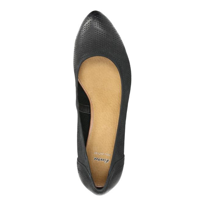Kožené lodičky na klínovém podpatku bata, černá, 626-6638 - 19