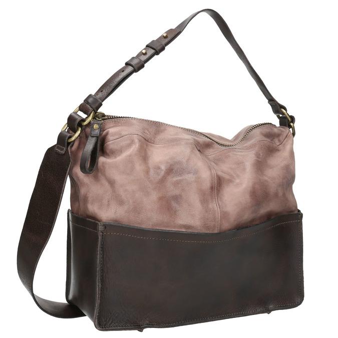 Kožená kabelka s masivním popruhem a-s-98, hnědá, 966-4037 - 13