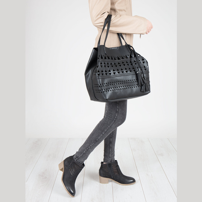 Dámská kabelka s perforací bata, černá, 961-6274 - 18
