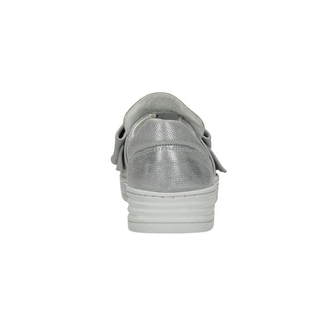 Kožená Slip-on obuv s mašlí bata, stříbrná, 516-2605 - 17