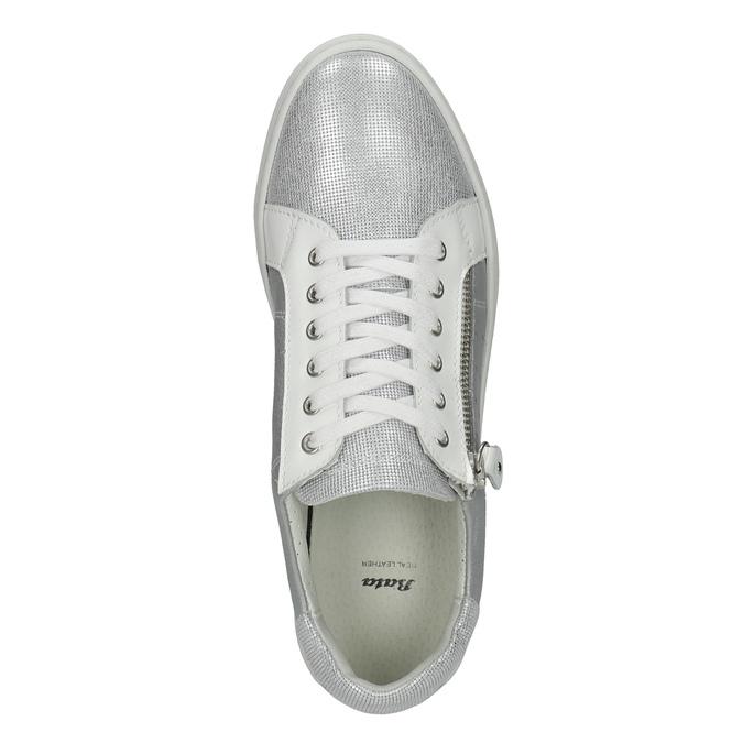 Kožené dámské tenisky bata, stříbrná, 526-1630 - 19